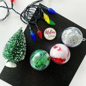Christmas Hair Scrunchies in Ornaments - Set of 3